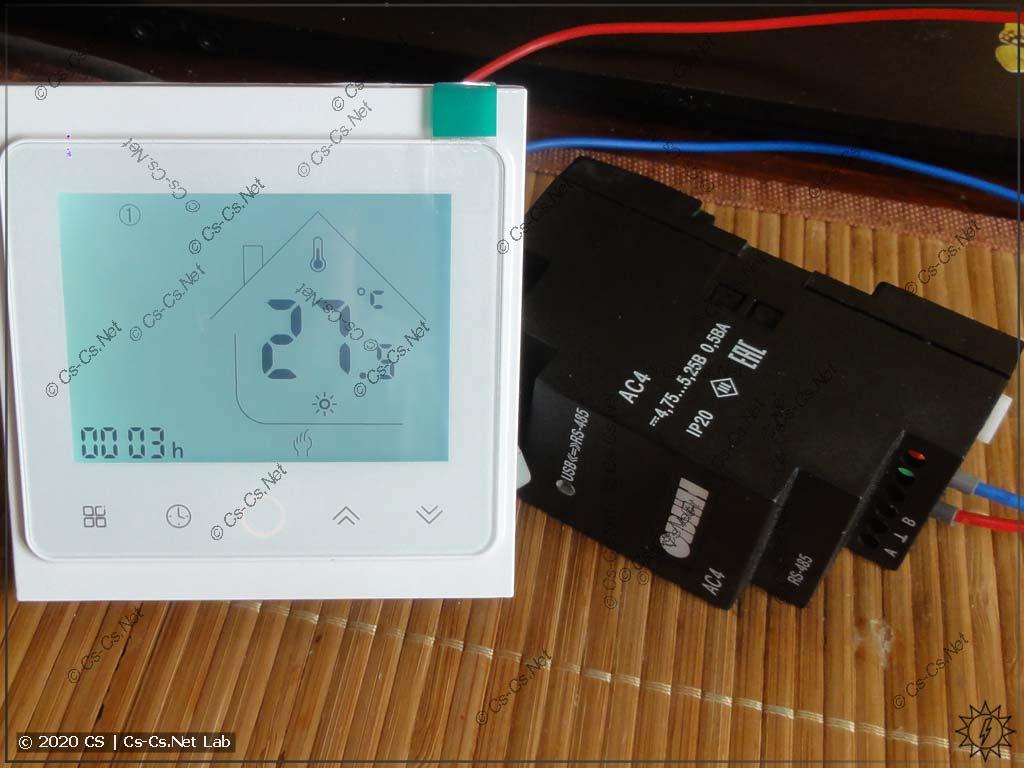 Подключаем наш термостат к компьютеру через преобразователь RS-485