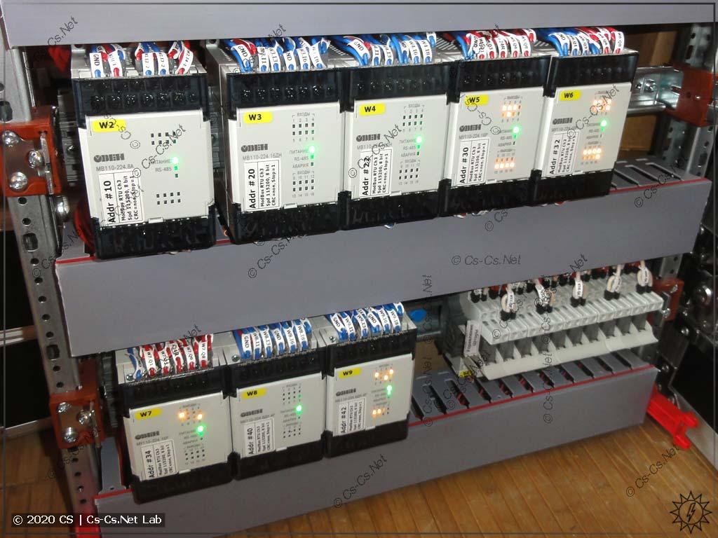 Модули ОВЕН Мх110 в силовом щите на базе системы ABB CombiLine