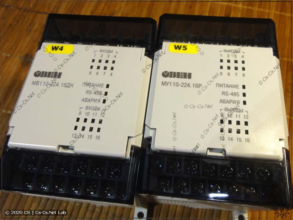 Внешний вид модулей ОВЕН Мх110 на 16 каналов (4 DIN-модуля)