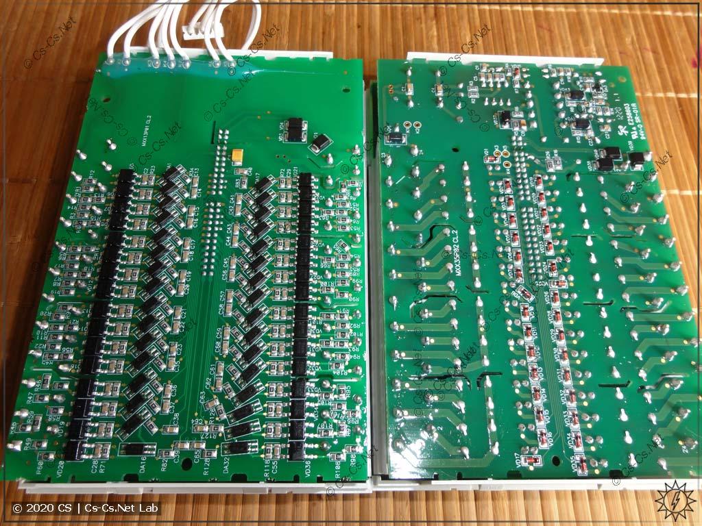 Платы дискретных входов (слева) и дискретных выходов (справа) модулей ОВЕН Мх110 на 32 канала