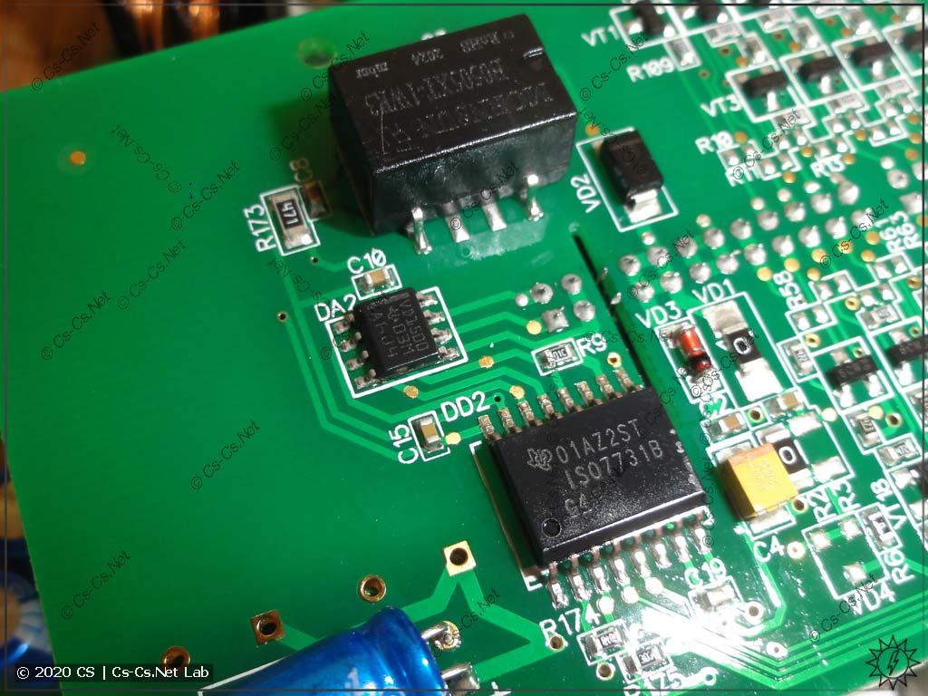 Гальваническая развязка RS-485 модулей IO Мх110 на 32 канала: DC-DC преобразователь и те же ISO7731 + THVD1500