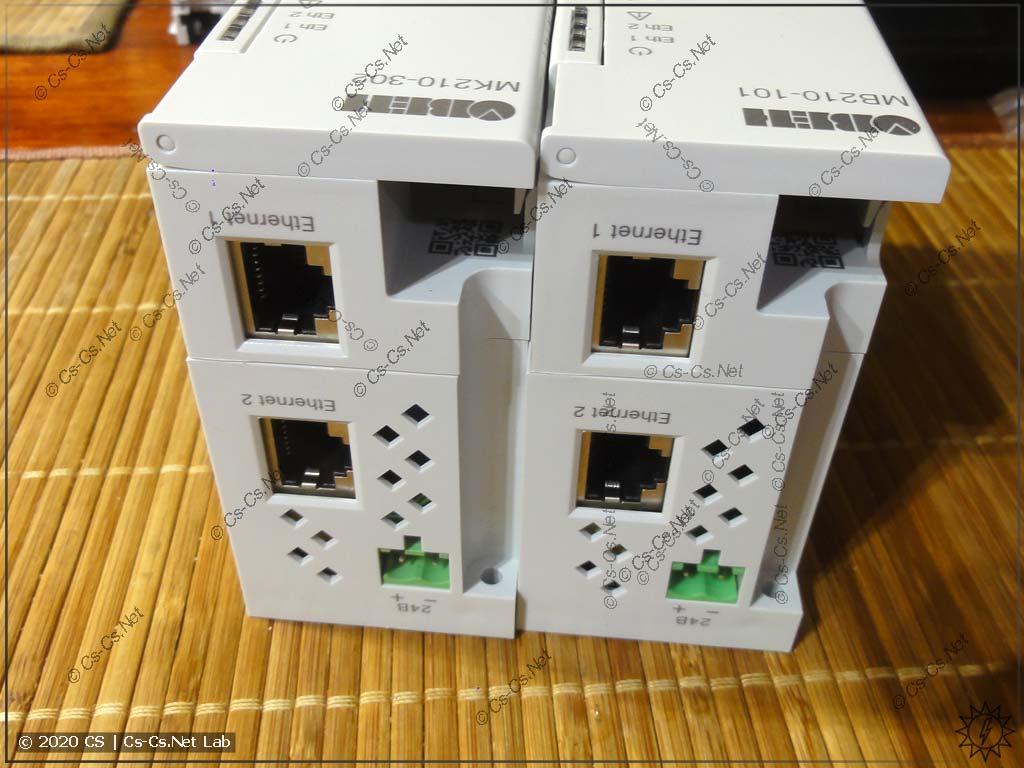 В верхней части модулей находятся разъёмы для подачи питания и Ethernet