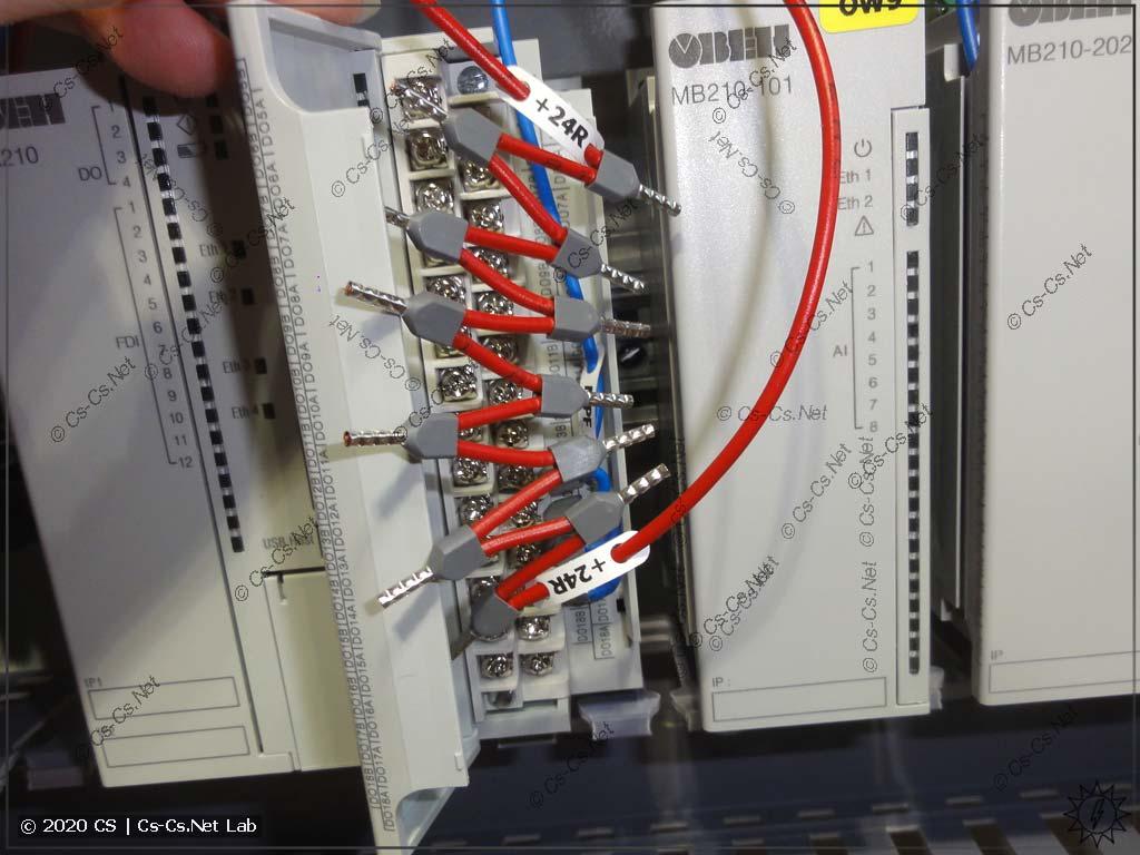 Неудобства монтажа модулей ОВЕН Мх210/ПЛК210: из-за меньшей группировки выходов (без COMов) приходится делать длинные шлейфы из НШВИ