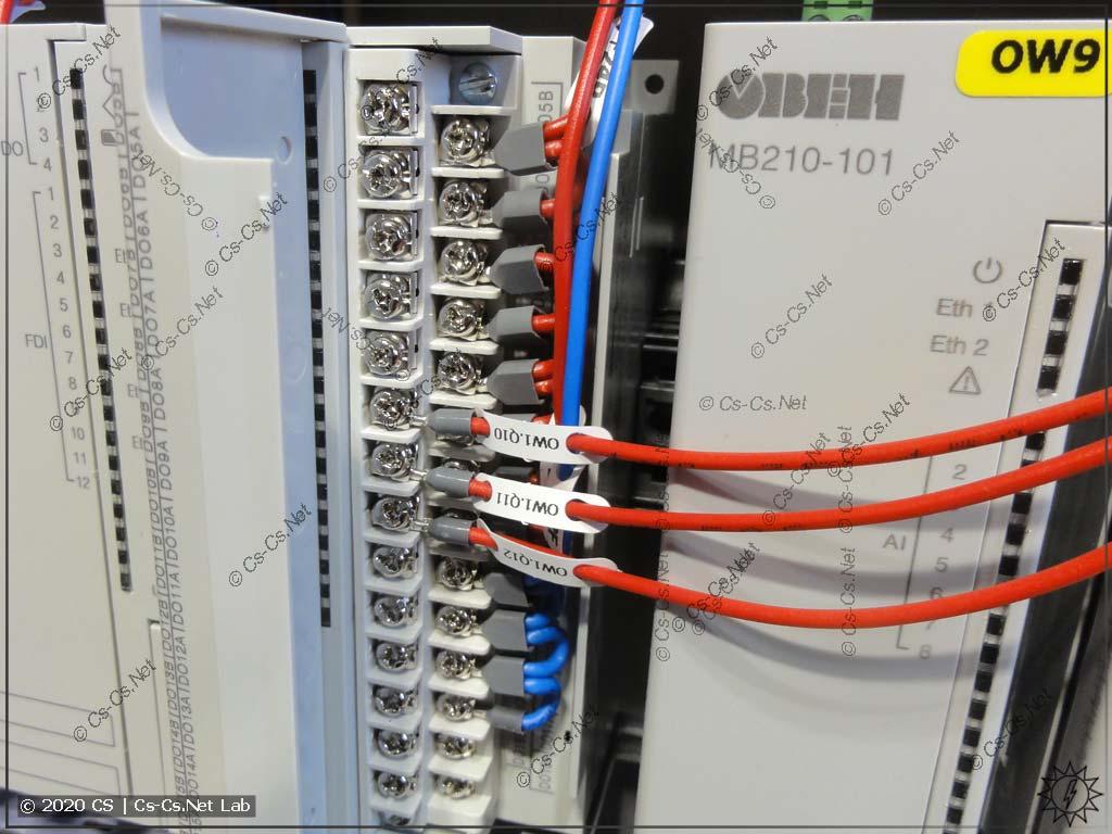 Неудобства монтажа модулей ОВЕН Мх210/ПЛК210: шлейф на выходы из НШВИ(2) перекрывает все надписи сигналов и мешает другим проводам