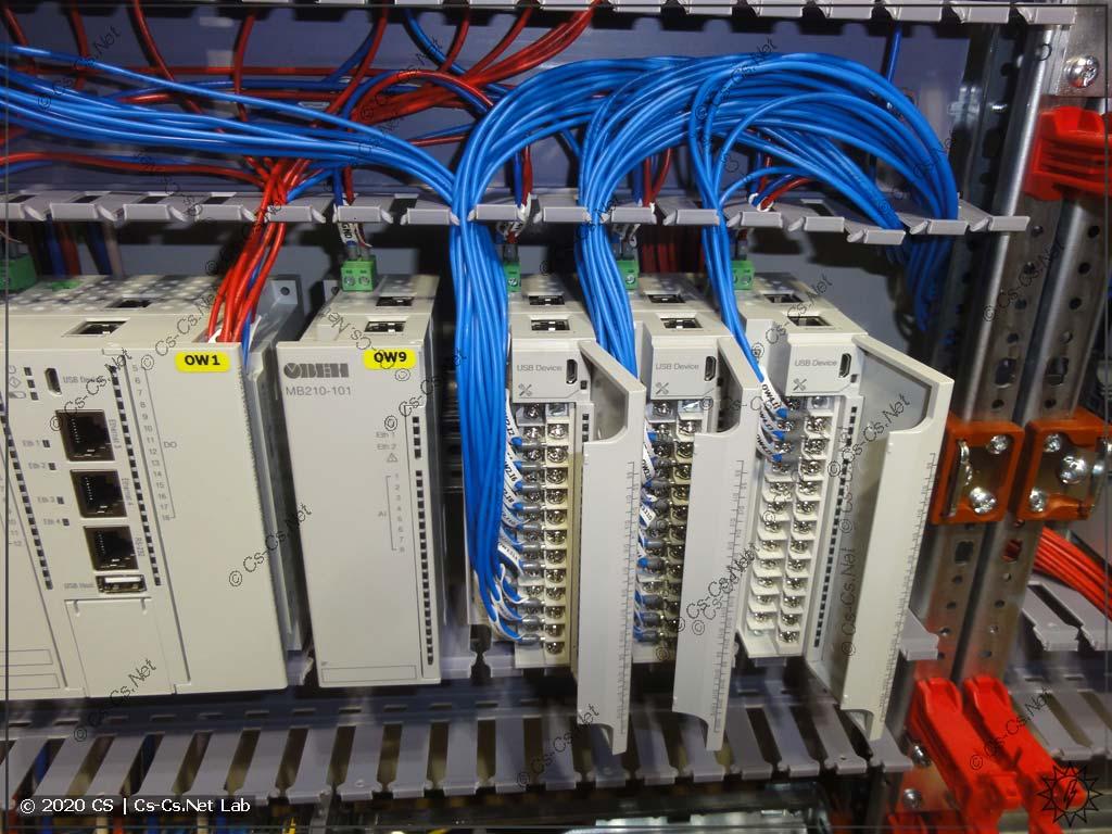 Процесс сборки щита на модулях ОВЕН Мх210: месиво проводов