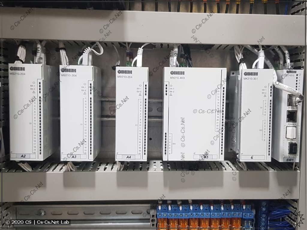 Модули IO ОВЕН Мх210 в силовом шкафу участника форума ОВЕН