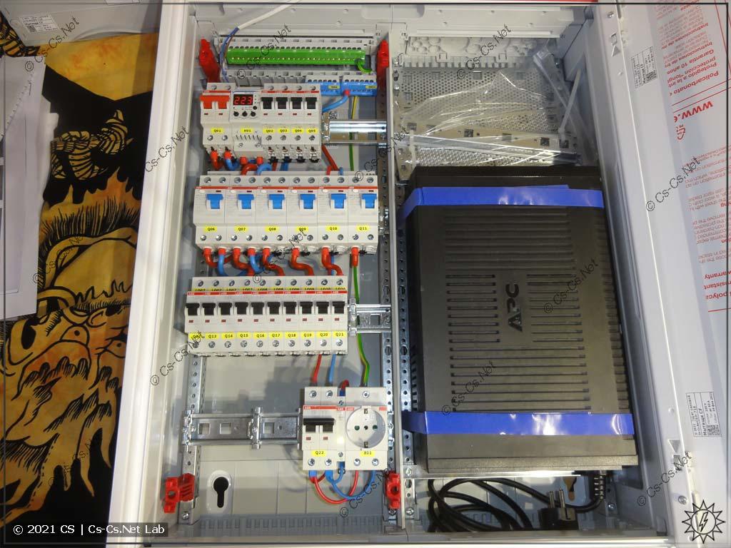 Сборка щита в Мытищи (ABB CA24VMW): Установлена рама с модулькой, UPS и оставлено место для СКС