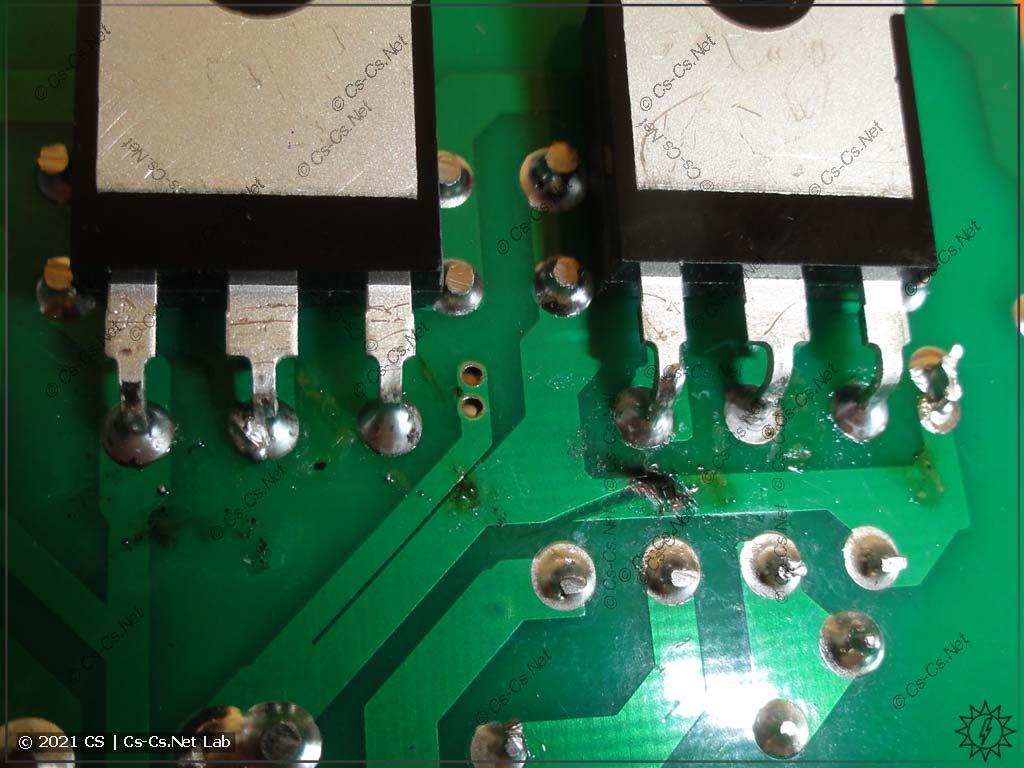 Плата блока питания лазерного станка MyJG-40: повреждение дорожек, бахнуло, не работает