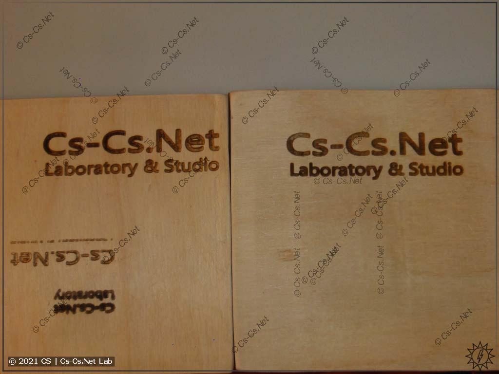 Тестируем CO2 лазер на 40 Вт: гравирует текст на фанерке 6 мм на 20% мощности